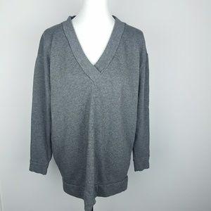 Zara Oversized Soft V-Neck Sweater Gray Medium